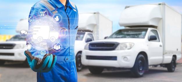 Bezorger met snelle vrachtwagen express levering en service icoon