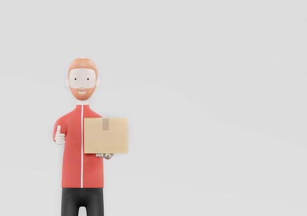 Bezorger werknemer in rode jas uniform houden lege kartonnen doos