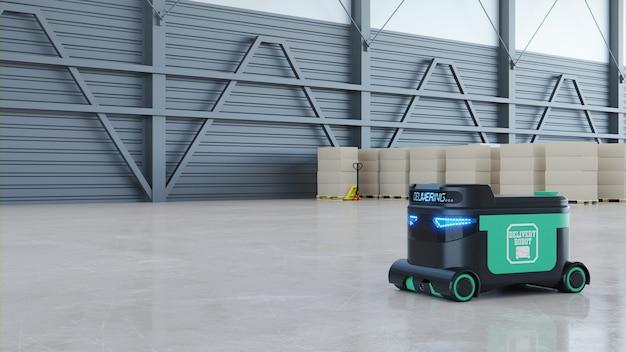 Bezorgrobot voedselbezorgrobots kunnen in de nabije toekomst huizen bedienen. agv intelligente robot. 3d-weergave
