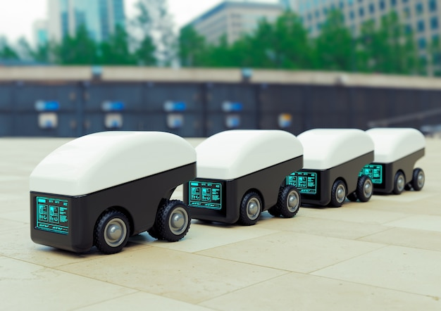 Bezorgrobotwagenpark, intelligent automaatvoertuig voor de bezorging van voedsel en producten.