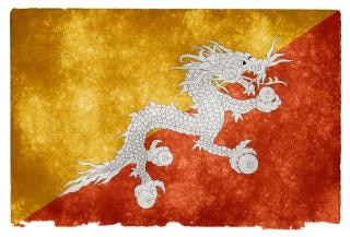 Bhutan grunge vlag geel