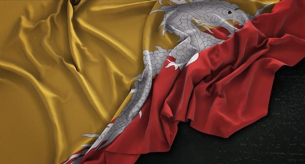 Bhutan vlag gerimpeld op donkere achtergrond 3d render