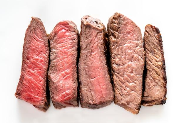 Biefstuk: mate van gaarheid van zeldzaam tot doorbakken