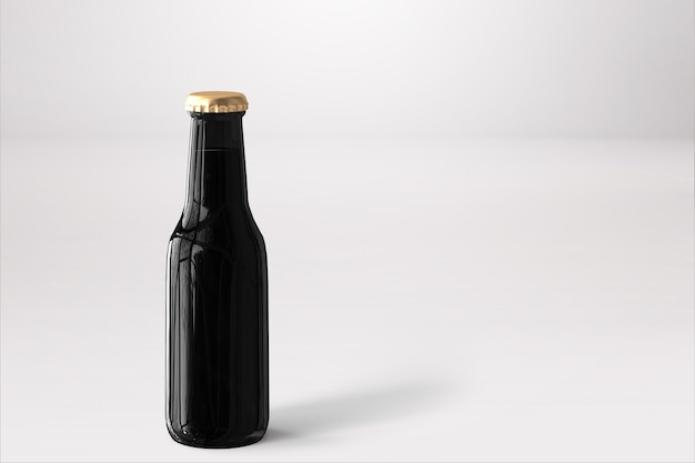 Bierfles mock-up met blanco etiket op witte achtergrond. oktoberfest-concept.