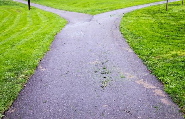 Bifurcatie in een parkweg