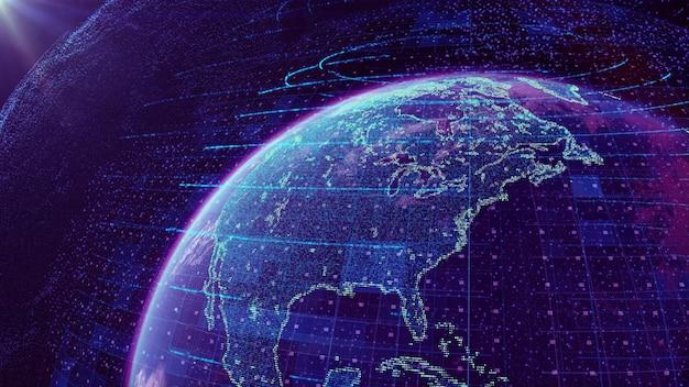 Big data abstracte achtergrond van visuele data infographics met neon stippen en lijnen
