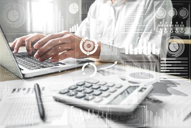 Big data-technologie voor bedrijfsfinanciënconcept.