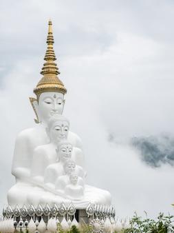 Big five zitten boeddhabeelden in een mist, thailand