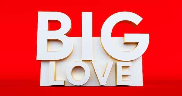 Big love typografie op rode achtergrond, valentijnsdag, 3d-rendering