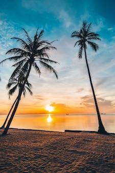 Bij zonsondergang op het tropische strand en de zee met coconut palmboom