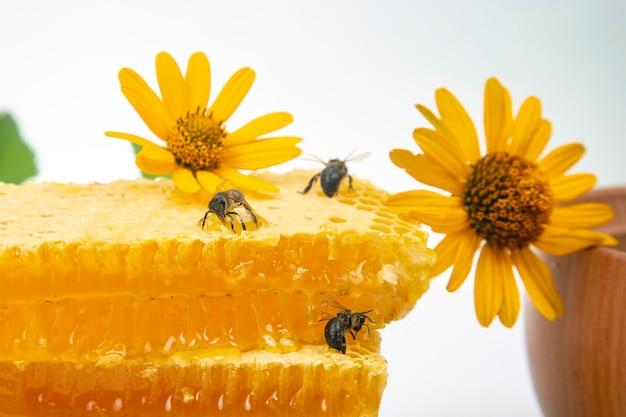 Bijen zitten op verse kamhoning met bloemen. biologische vitaminevoeding