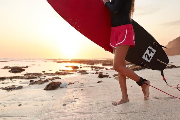 Bijgesneden afbeelding van sportieve vrouw in korte broek, komt naar de oceaan met surfplank, wordt vastgemaakt met riem