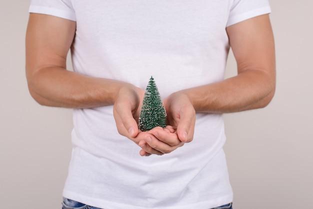 Bijgesneden close-up weergave foto foto portret van klein klein klein groen met sneeuwvlokken kerstboom in handen geïsoleerde grijze muur