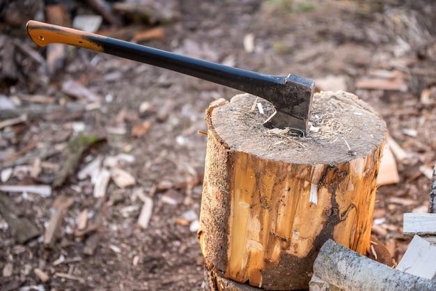 Bijl vast in stronk. de bijl van de houthakker op de stronk.