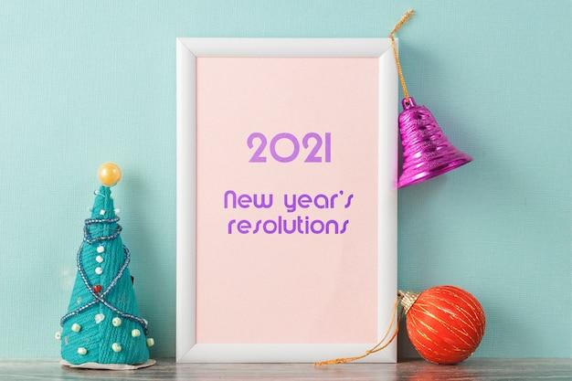 Bijschrift in fotolijsten nieuwe jaarresoluties