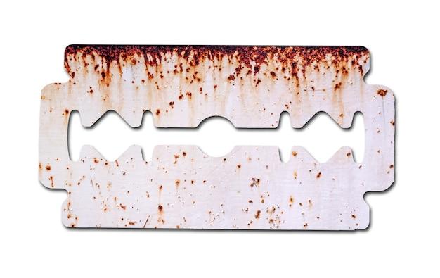 Bijtende roest op het scheermesje geïsoleerd op een witte achtergrond gebruik een illustratie voor presentatie.