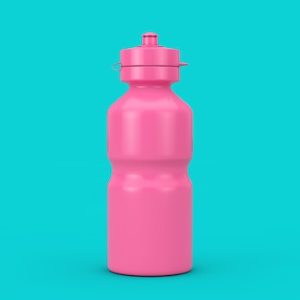 Bike water sport bottle mockup in duotone stijl op een blauwe achtergrond. 3d-rendering