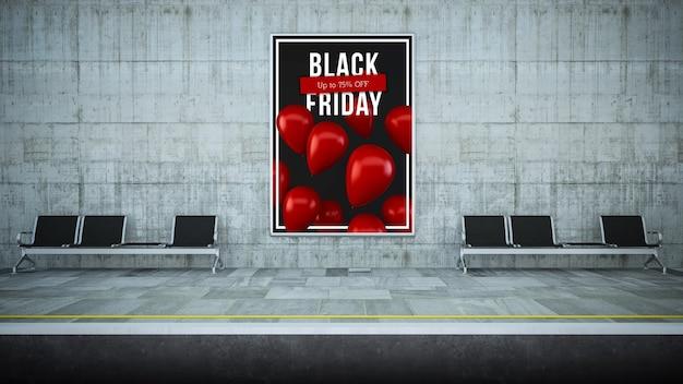 Billboard poster op metrostation 3d-rendering zwarte vrijdag