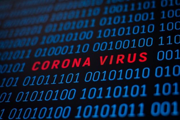 Binaire code met inscriptie coronavirus in het midden. concept van gegevens, informatie