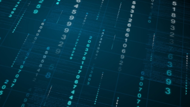 Binaire regen achtergrond. digitale gegevens op blauwdruk