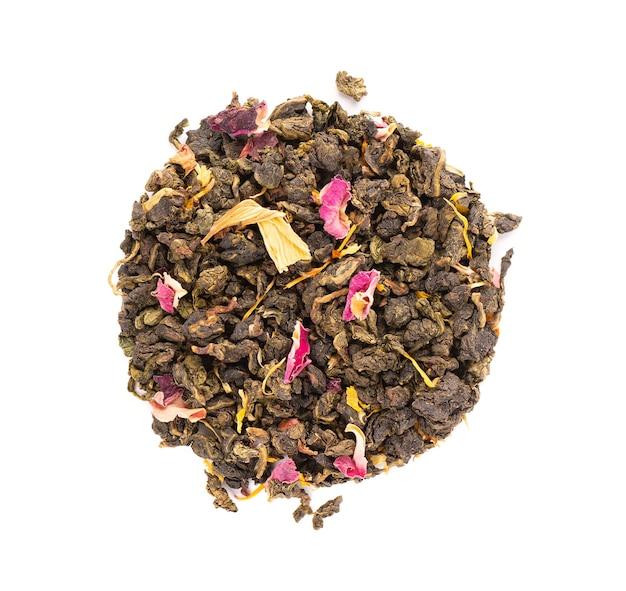 Bind guan yin-thee met de bloemblaadjes van lila