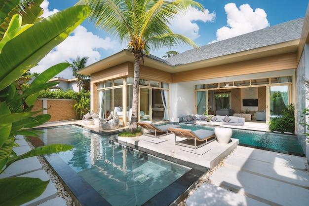 Binnen- en exterieurontwerp van luxe villa met zwembad, huis, huis met zwembad