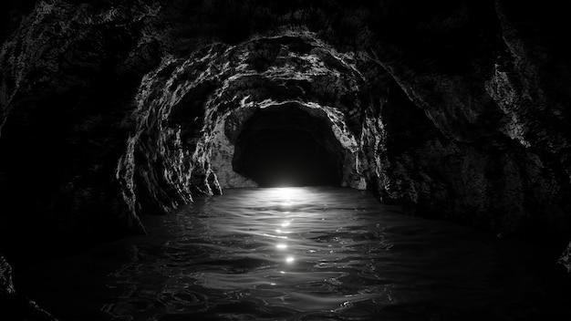 Binnen ondergrondse stenen grot achtergrond voor reclame in enge en horror scene