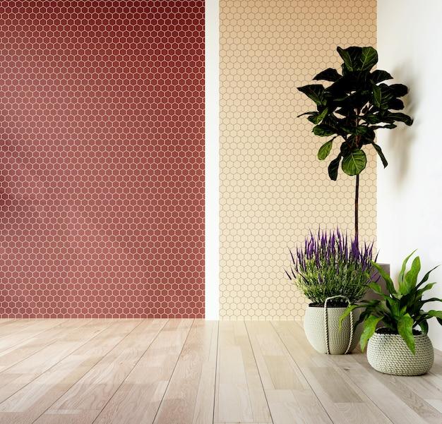 Binnenhoek van de woonkamer met een muur bekleed met zeshoekige terracotta en beige tegels. plaats voor tekst. 3d-weergave