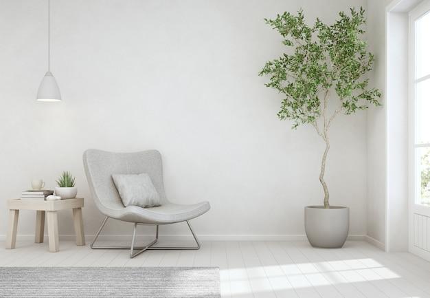 Binneninstallatie en koffietafel op houten vloer met lege witte concrete muur