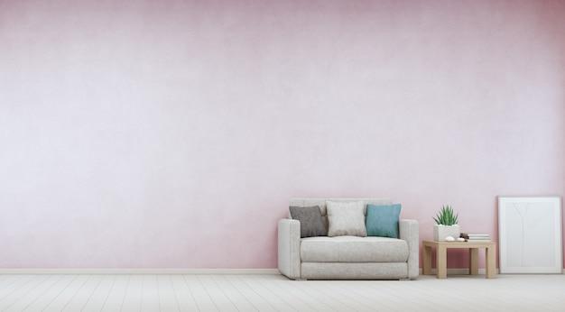 Binneninstallatie op houten koffietafel en bank met lege roze concrete muur