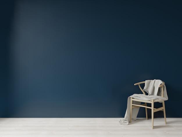 Binnenland met donkerblauwe groene muur houten stoel en lege muurachtergrond