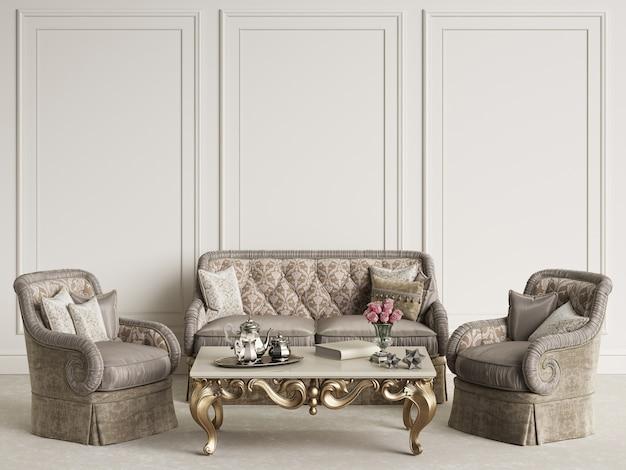 Binnenland met het klassieke meubilairmodel 3d teruggeven