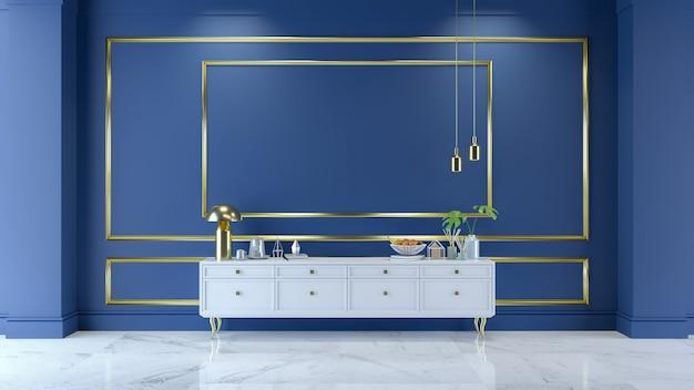 Binnenland van de luxe het moderne blauwe ruimte, 3d geef terug