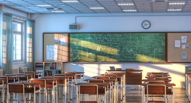 Binnenland van een schoolklaslokaal met houten bureaus en stoelen. niemand in de buurt. 3d render