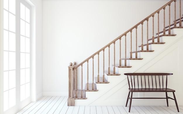 Binnenland van gang met houten trap