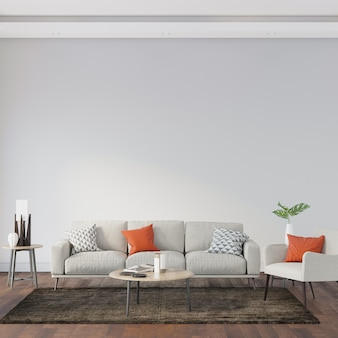 Binnenland van ruimte met bank en bruin tapijt