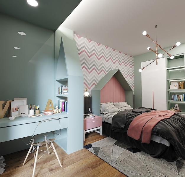 Binnenland van slaapkamer met bed met hoofdkussens en studiebureau