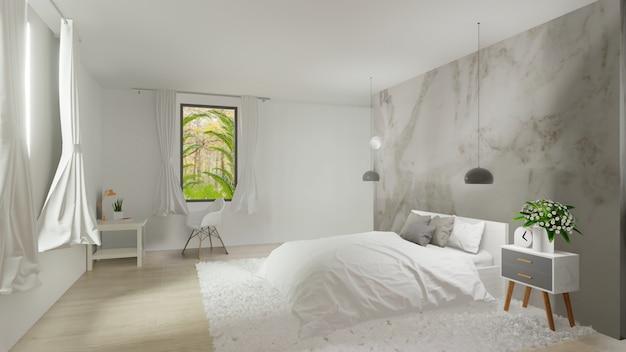Binnenland van slaapkamer met witte marmeren muur
