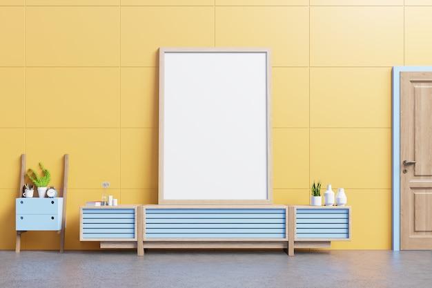 Binnenlands affichemodel met kabinet in woonkamer op gele muur. 3d-rendering