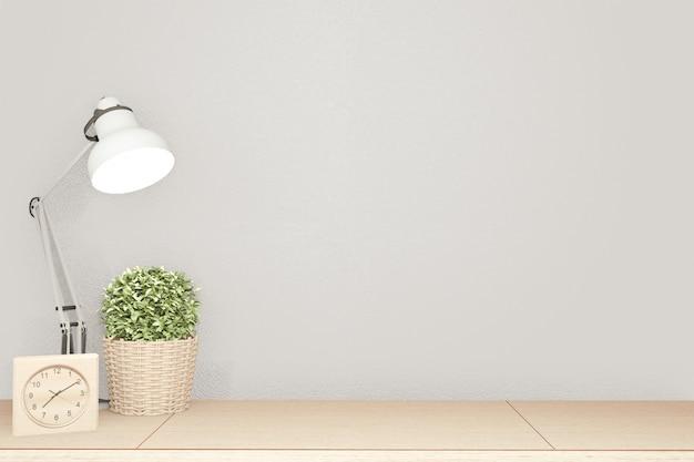 Binnenlands leeg frame scène hoogste lijst houten en wit beeld. 3d-weergave