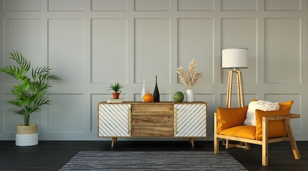 Binnenlands ontwerp van modern appartement, woonkamer met een dressoir en een fauteuil op witte muur, het 3d teruggeven