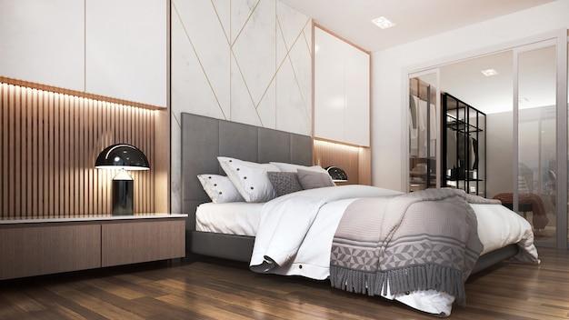 Binnenlands ontwerp van moderne gezellige slaapkamer