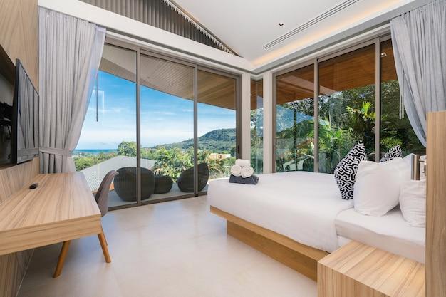 Binnenlands ontwerp van slaapkamer in een hotel