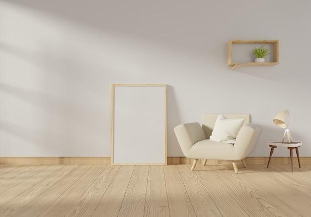 Binnenlandse affichespot op stoel met kader op witte muurachtergrond. 3d-rendering.