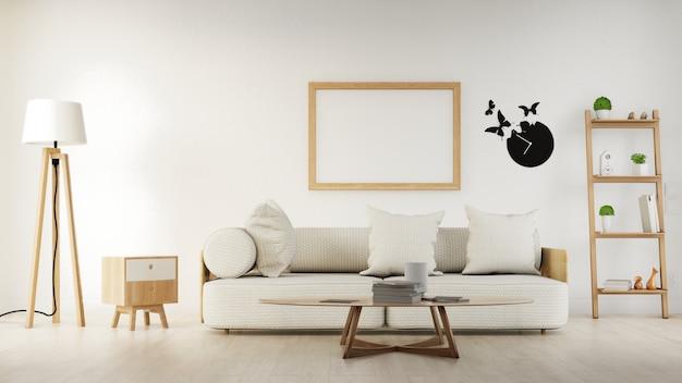 Binnenlandse affichewoonkamer met kleurrijke witte bank