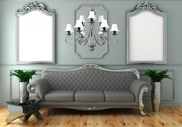 Binnenlandse het leven luxe klassieke stijl, decoratie grijze muur op houten vloer, het 3d teruggeven