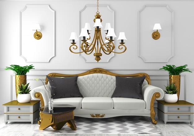 Binnenlandse het leven luxe klassieke stijl, decoratie witte muur op graniettegels, het 3d teruggeven