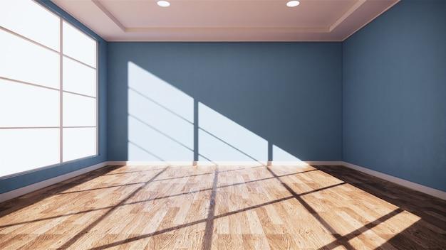 Binnenlandse lege blauwe ruimtemunt op houten vloer binnenlands ontwerp het 3d teruggeven