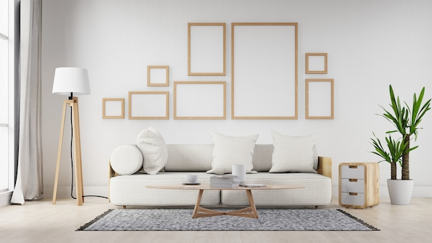 Binnenlandse lege fotokaderwoonkamer met witte bank. 3d-weergave