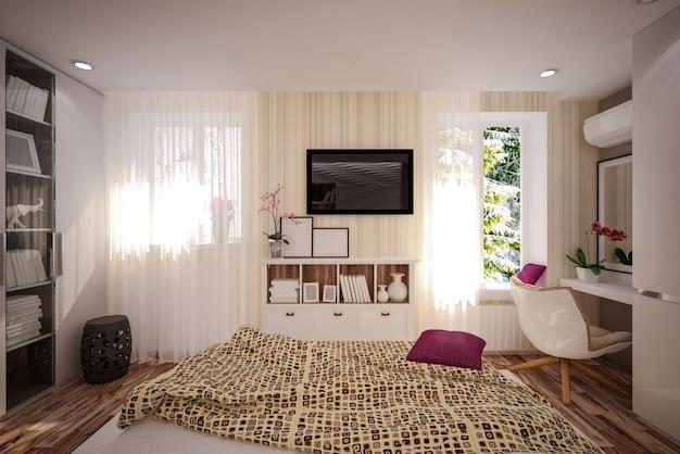 Binnenlandse slaapkamer in moderne stijl. interieur ontwerp
